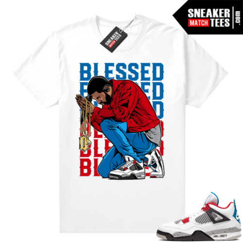Jordan 4 What the shirt white Blessed