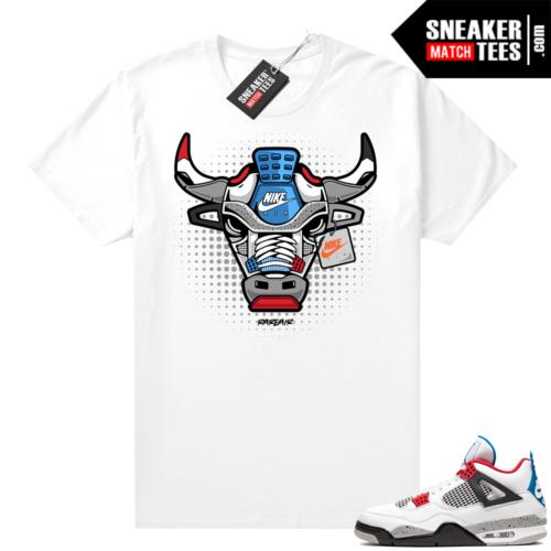 Jordan 4 What the shirt white Rare Air Bull