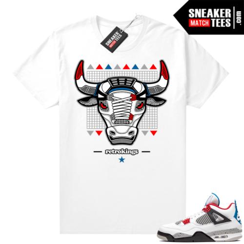 Jordan 4 What the shirt white What the 4s Bull Retro Kings