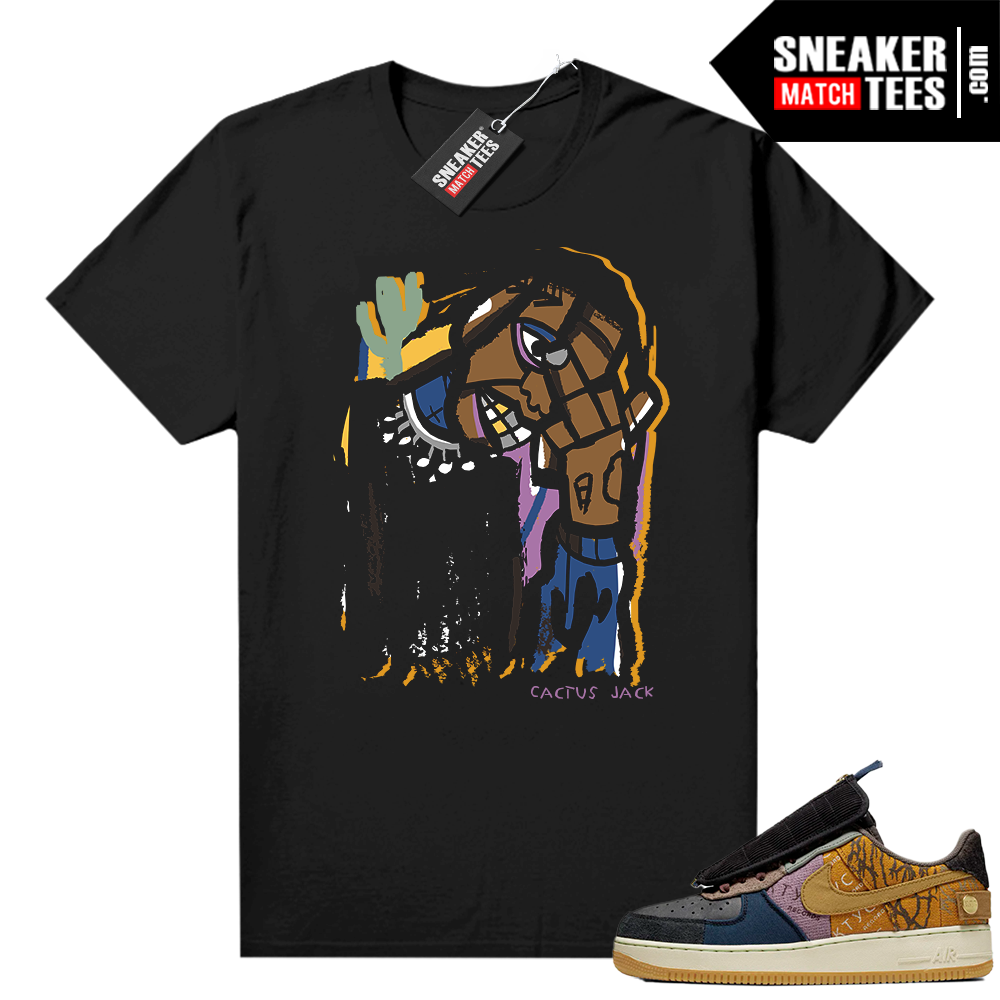 Travis Scott Nike Air Force 1 shirt black Abstract Art Cactus Jack