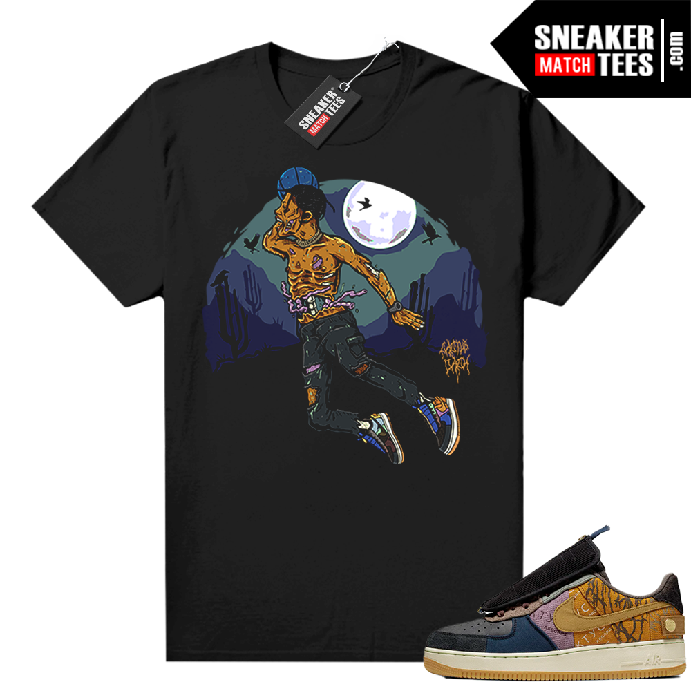 Travis Scott Nike Air Force 1 shirt black Air Travis Zombie