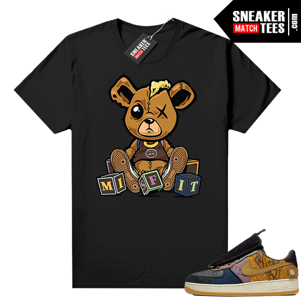 Travis Scott Nike Air Force 1 shirt black Misfit Teddy