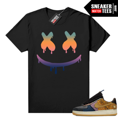 Travis Scott Nike Air Force 1 shirt black Smiley Drip
