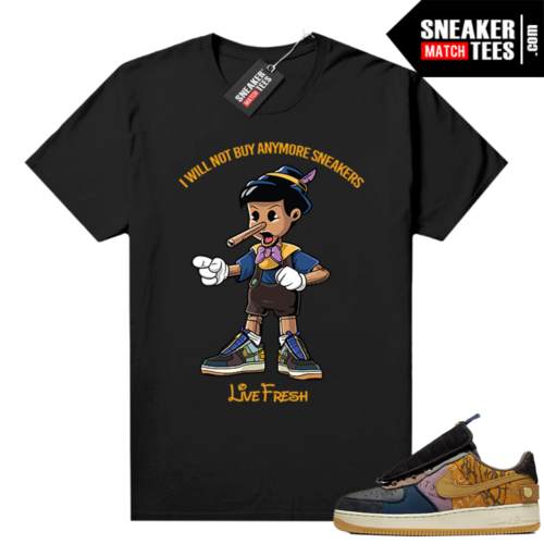 Travis Scott Nike Air Force 1 shirt black Sneakerhead Pinocchio
