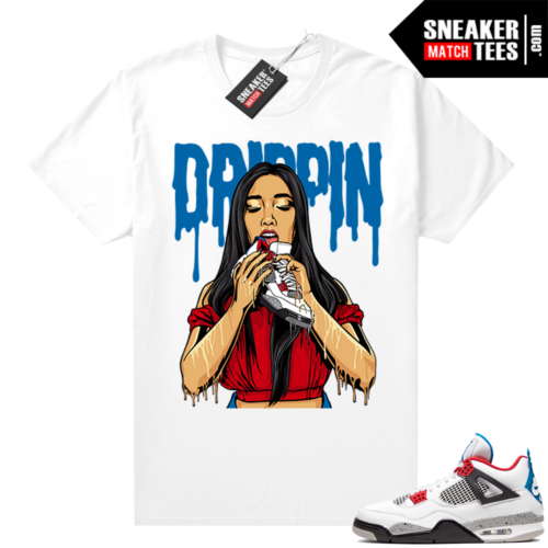 What the 4s shirt White Drippin 4s