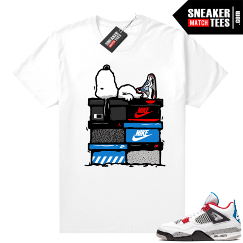 What the 4s shirt white Sneakerhead Snoopy
