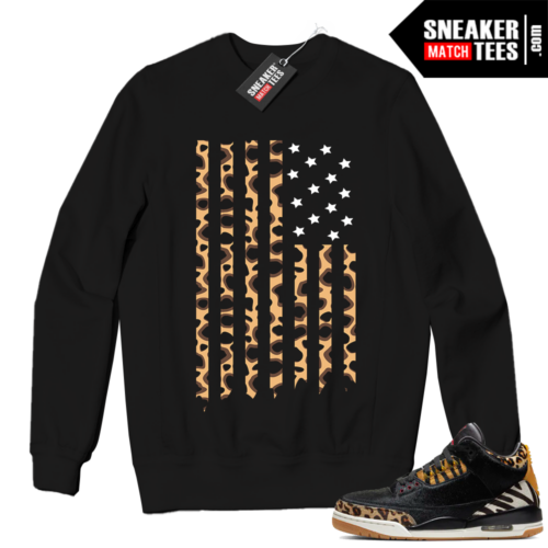 Jordan 3 Animal instinct Black Crewneck Sweatshirt Cheetah Flag