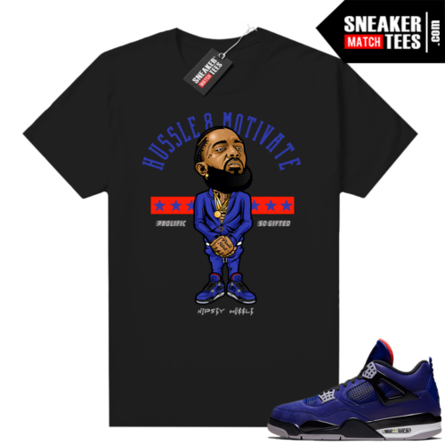 Winter Loyal Blue 4s Shirt Black Nipsey Hussle Motivate