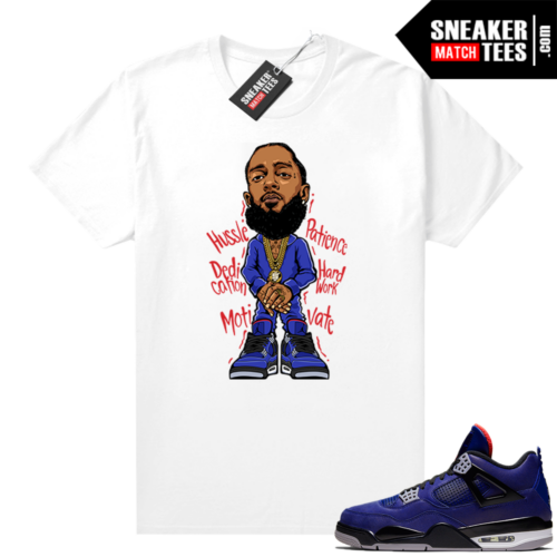 Winter Loyal Blue 4s Shirt White Nipsey Hussle Toon