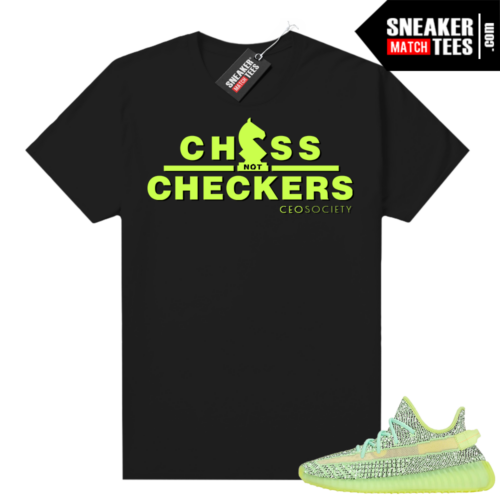 Yeezreel Yeezy 350 shirt black CHESS NOT CHECKERS