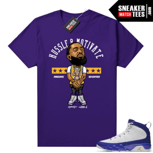 Jordan 9 Kobe Nipsey Hussle Motivate Purple tee
