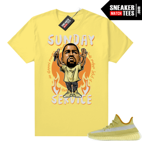 Marsh Yeezy 350 shirt Yellow Sunday Service Ye Toon