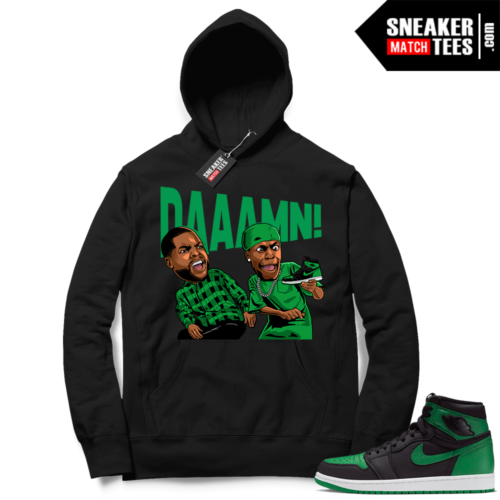Pine Green 1s Hoodie Black DAAAMN