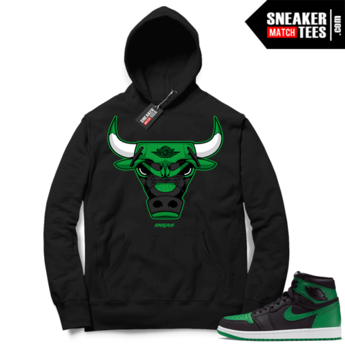 Pine Green 1s Hoodie Black Rare Air Bull