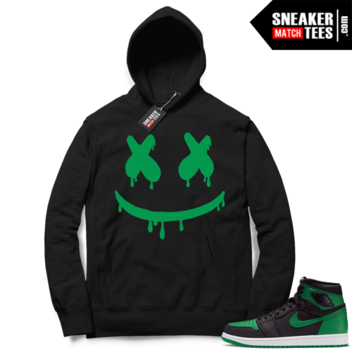Pine Green 1s Hoodie Black Smiley Drip