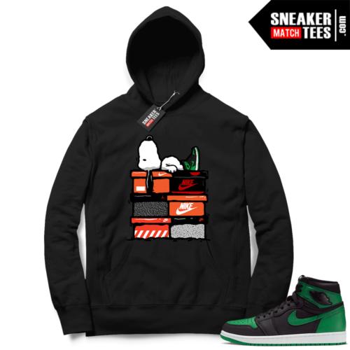 Pine Green 1s Hoodie Black Sneakerhead Snoopy