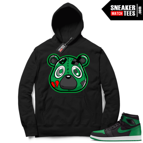Pine Green 1s Hoodie Black Young Heartless Bear