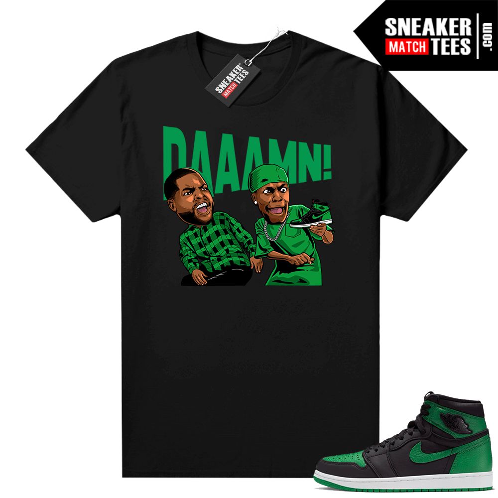 Pine Green 1s shirt Black DAAAMN
