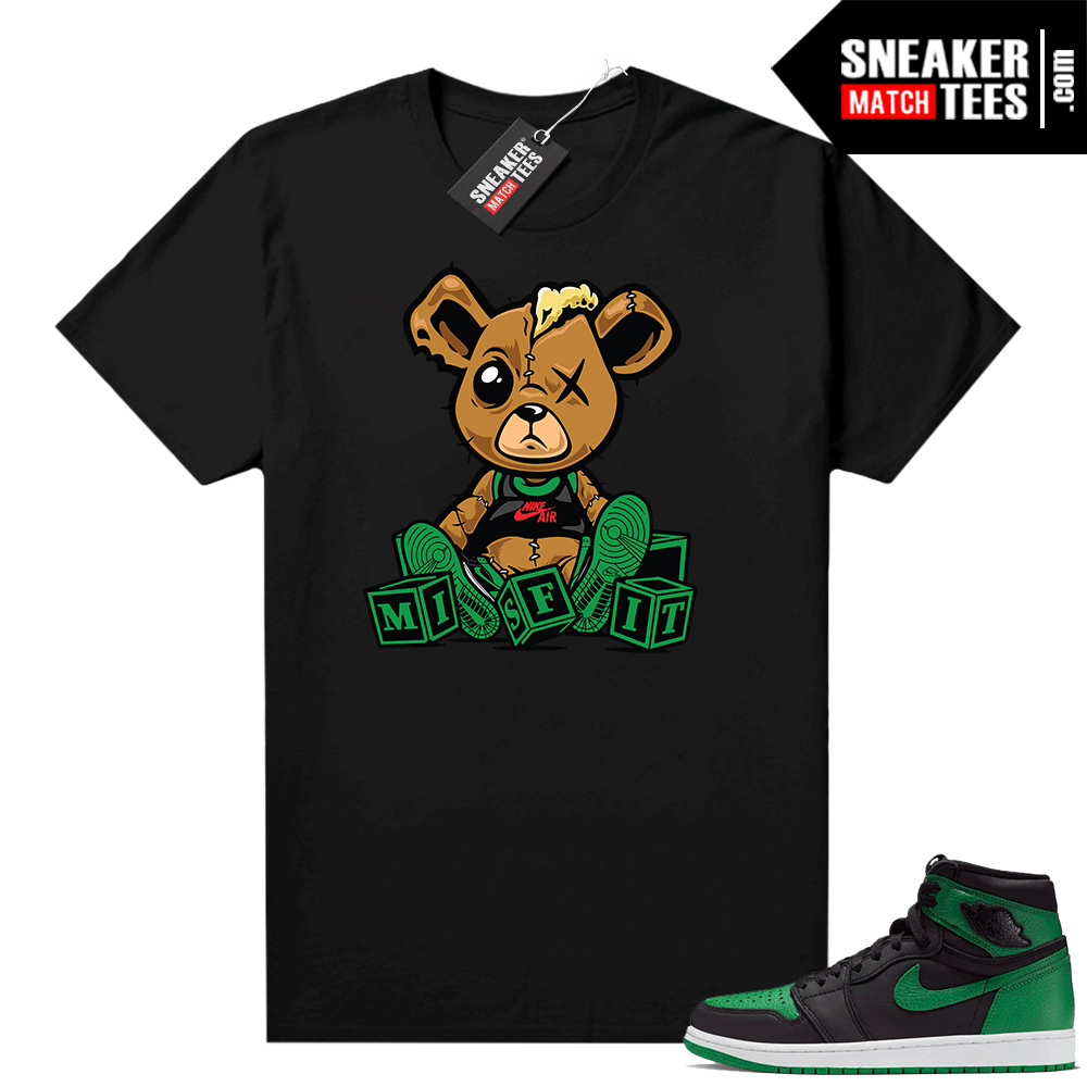 Pine Green 1s shirt Black Misfit Teddy