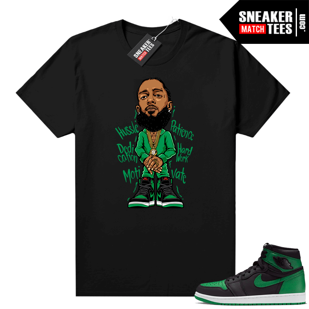 Pine Green 1s shirt Black Nipsey Hussle