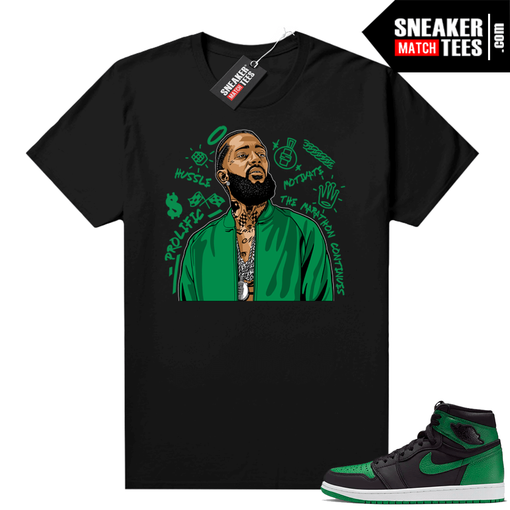 Pine Green 1s shirt Black Nipsey Tribute