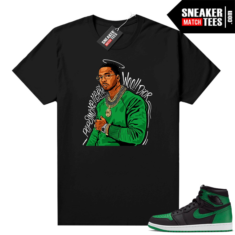Pine Green 1s shirt Black Pop Smoke Tribute