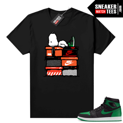 Pine Green 1s shirt Black Sneakerhead Snoopy
