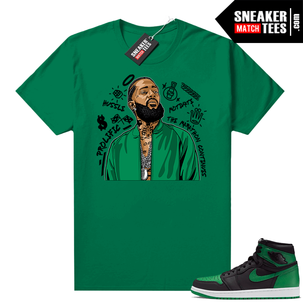 Pine Green 1s shirt Nipsey Tribute