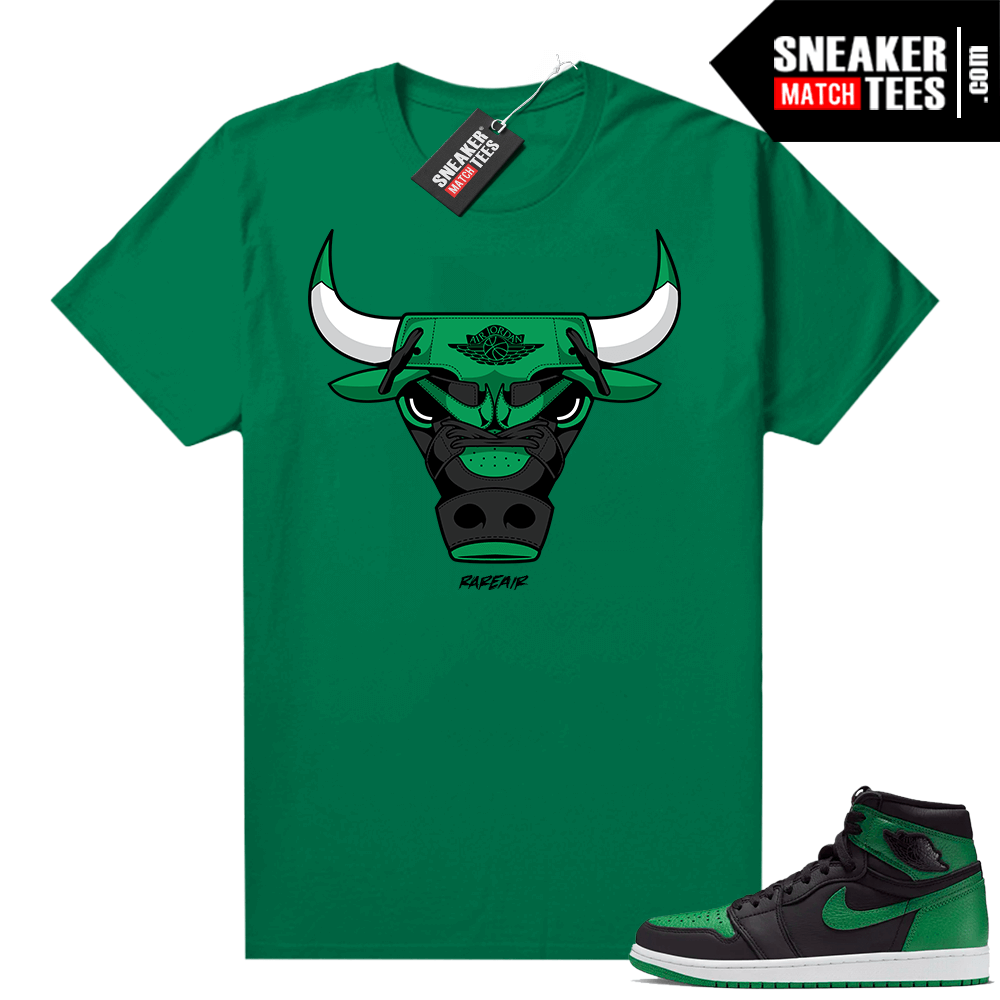 Pine Green 1s shirt Rare Air Bull