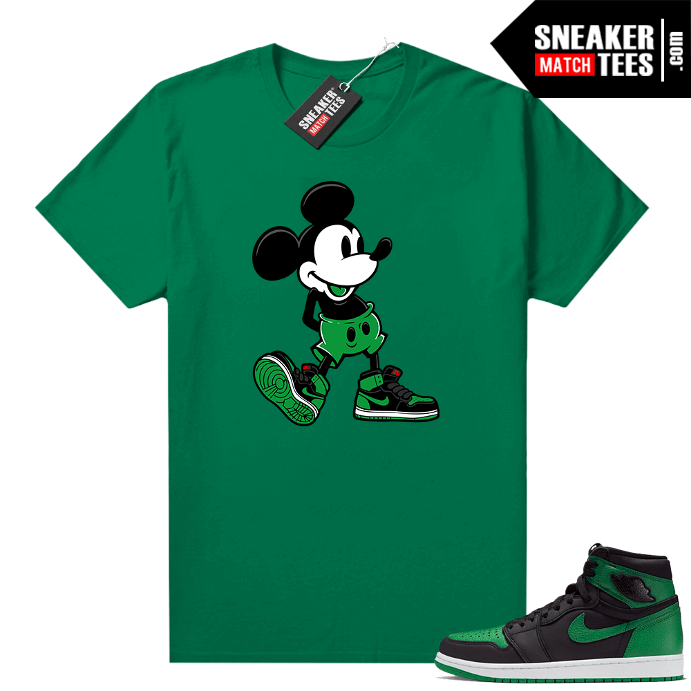 Pine Green 1s shirt Sneakerhead Mickey