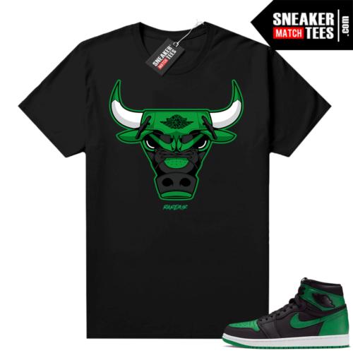 Pine Green 1s shirt black Rare Air Bull