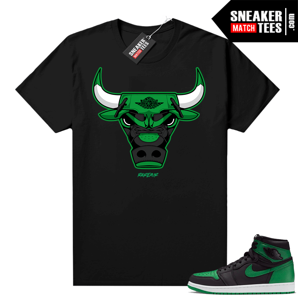 Pine Green 1s shirt black Rare Air Bull