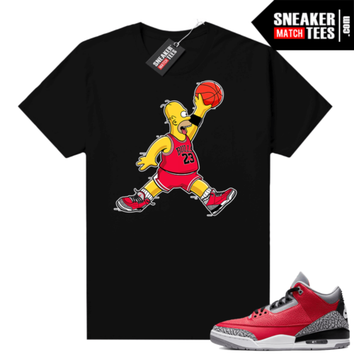 Red Cement 3s shirt Air Homer