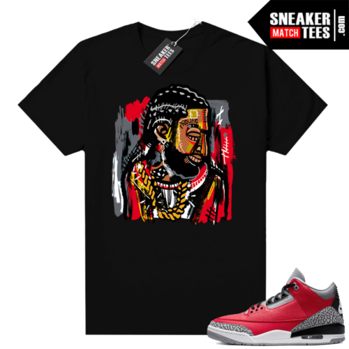 Red Cement 3s shirt Black Abstract Art Nispey Hussle