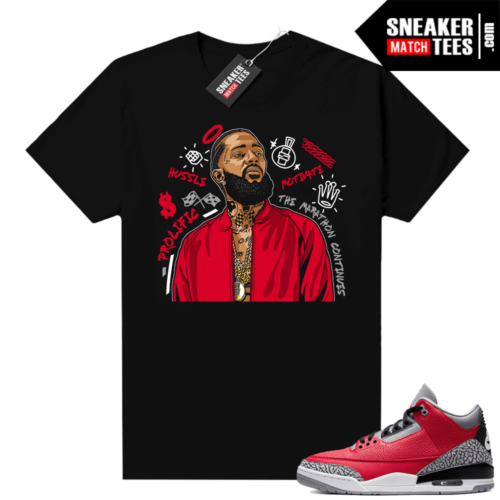 Red Cement 3s shirt Black Nipsey Tribute