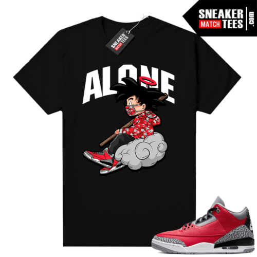Red Cement 3s shirt black Alone