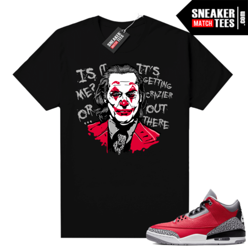 Red Cement 3s shirt black Joker