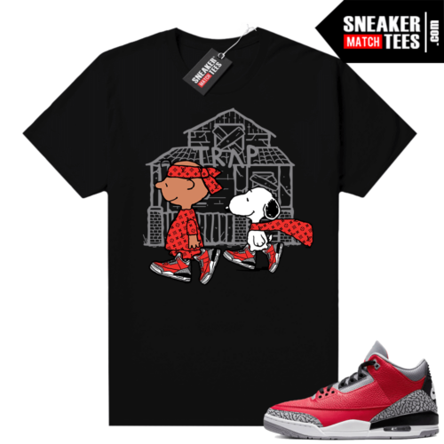 Red Cement 3s shirt black Snoopy Trap House