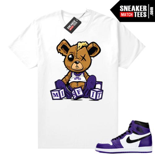 Court-Purple-1s-2-0-shirt-to-match-jordans-White-Misfit-Teddy