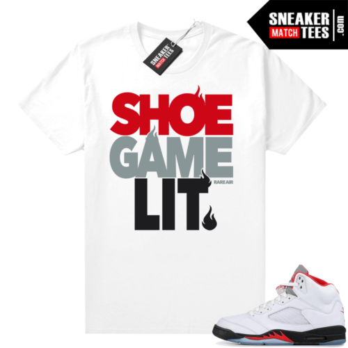 Fire Red 5s sneaker tees shirt Shoe Game Lit