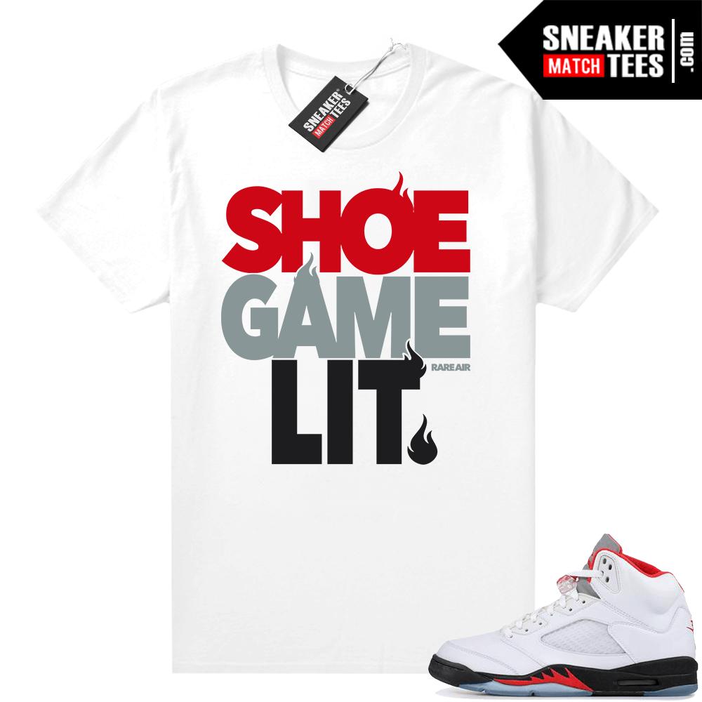 Fire Red 5s Jordan sneaker tees