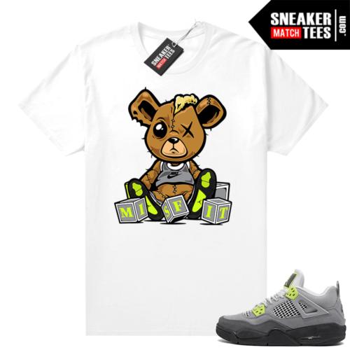 Jordan 4 Neon 95 matching shirts white Misfit Teddy