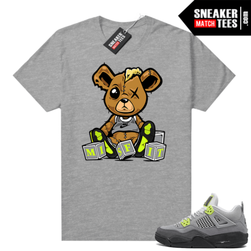 Jordan 4 Neon 95 sneaker shirt heather grey Misfit Teddy