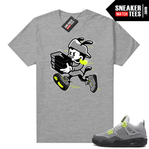 Jordan 4 Neon Air Max 95 tees Heather Grey Double Up