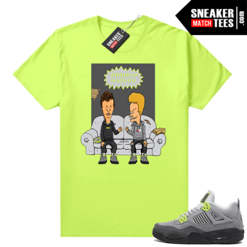 Jordan Sneaker Match T-shirt Neon 4s Volt Hype Beavis and Sneakerhead