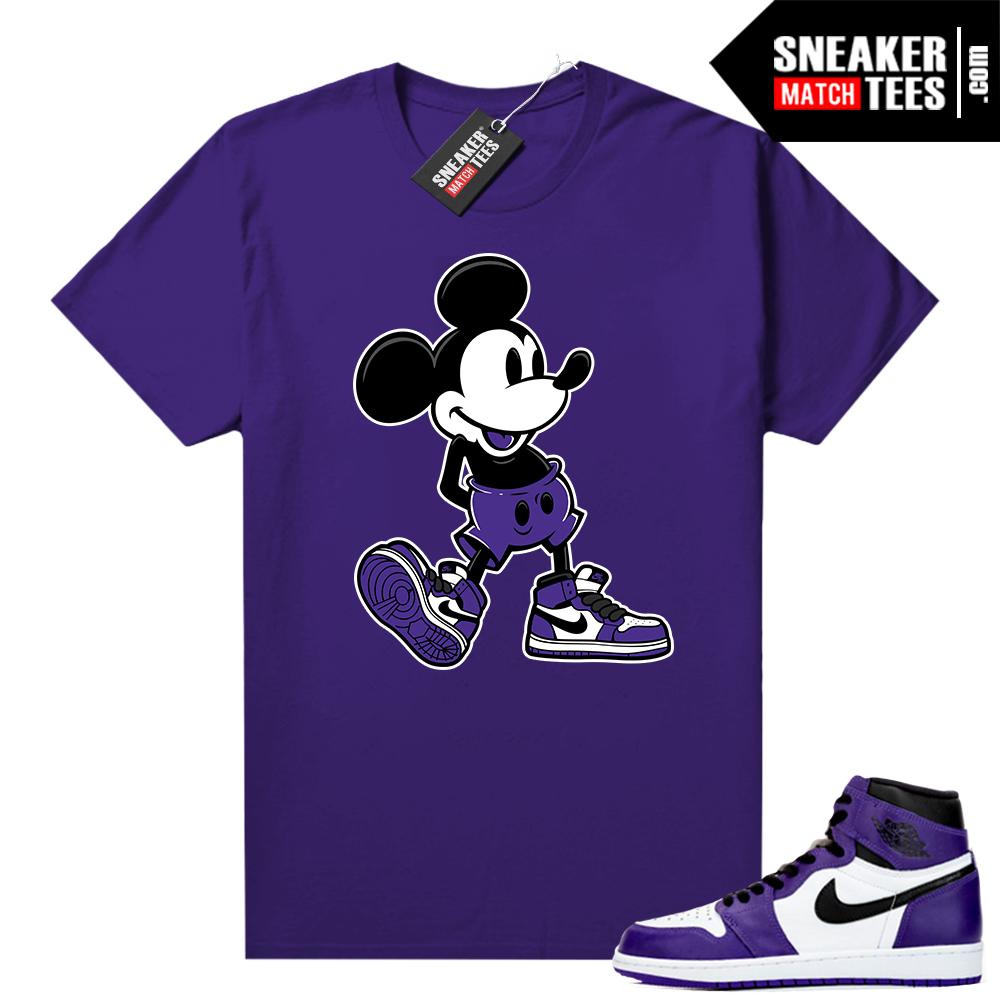 Jordan match tees Court Purple 1s 2-0 Purple Sneakerhead Mickey
