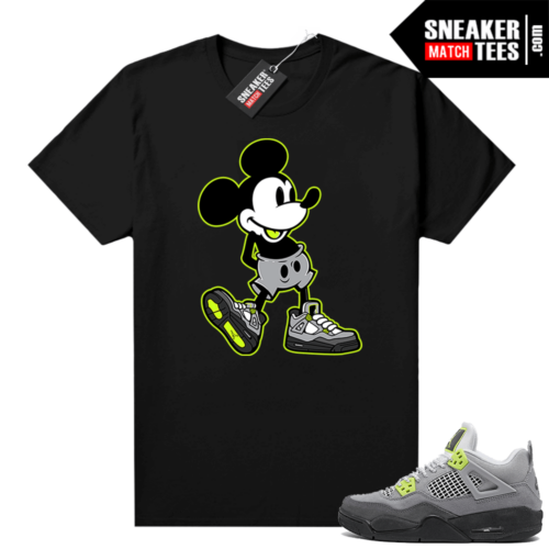 Neon 4s Air Max 95 matching Sneaker tee Black Sneakerhead Mickey