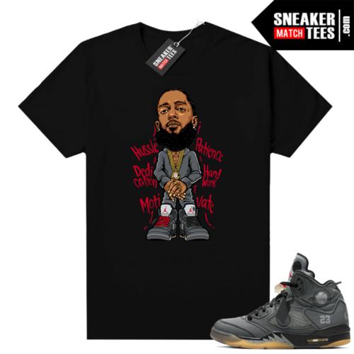 Off white 5s Jordan shirt black Nipsey Hussle