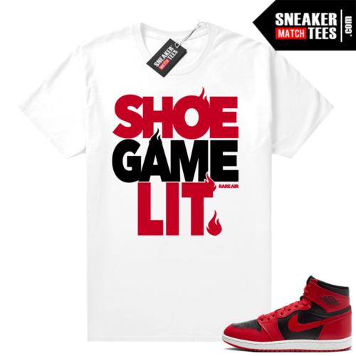 Reverse Bred 1s shirt white Shoe Game Lit