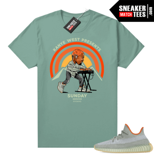 Sneaker tees Yeezy 350 Desert Sage Heather Green Sunday Service Wyoming